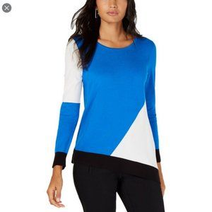 Alfani NWT Colorblock Asymmetrical Pullover Top